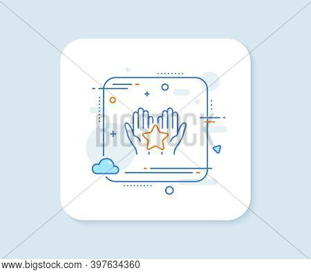 Ranking Line Icon. Abstract Square Vector Button. Holding Star Sign. Best Rank Symbol. Ranking Line
