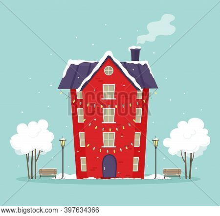 Town House With Bulbs, Garlands And A Courtyard In Winter. House And Yard In The Snow. Vector Illust