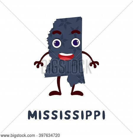 Cute Cartoon Mississippi State Character Clipart. Illustrated Map Of State Of Mississippi Of Usa Wit