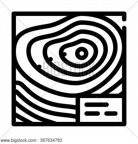 Topographic Map Line Icon Vector Illustration Black
