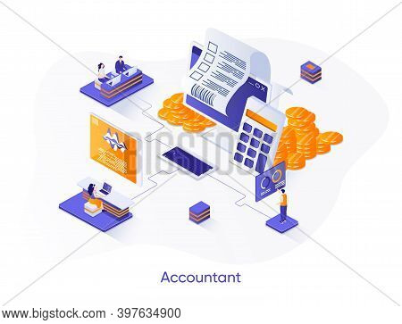 Accountant Isometric Web Banner. Business Accounting And Audit Isometry Concept. Budgeting And Tax C