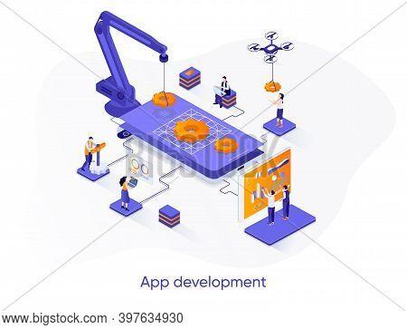 App Development Isometric Web Banner. Mobile Application Design, Full Stack Programming Isometry Con