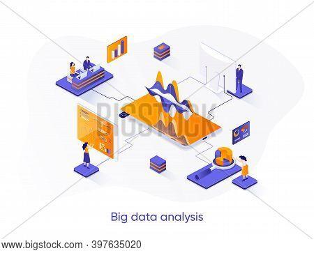 Big Data Analysis Isometric Web Banner. Analytics And Business Intelligence Isometry Concept. Online