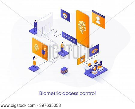 Biometric Access Control Isometric Web Banner. Fingerprint Scan Control Isometry Concept. Biometrics