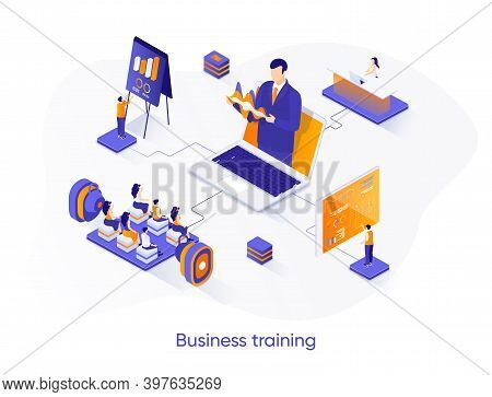 Business Training Isometric Web Banner. Business Coaching Isometry Concept. Career Growth, Skills De