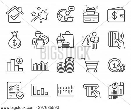 Finance Icons Set. Included Icon As Report Document, Usd Coins, Loyalty Card Signs. Decreasing Graph