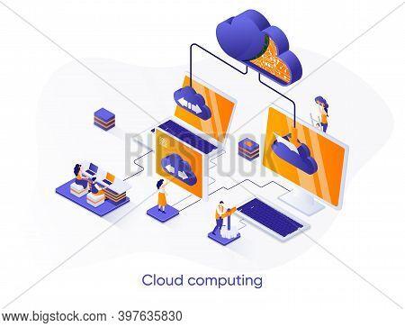 Cloud Computing Isometric Web Banner. Hosting Platform Isometry Concept. Big Data Processing Service