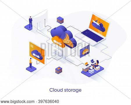 Cloud Storage Isometric Web Banner. Secure Cloud Storage, Database System Isometry Concept. Internet