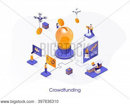 Crowdfunding Isometric Web Banner. Fundraising, Business Startup Investment Isometry Concept. Crowdf