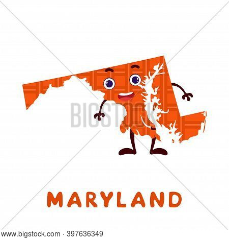 Cute Cartoon Maryland State Character Clipart. Illustrated Map Of State Of Maryland Of Usa With Stat