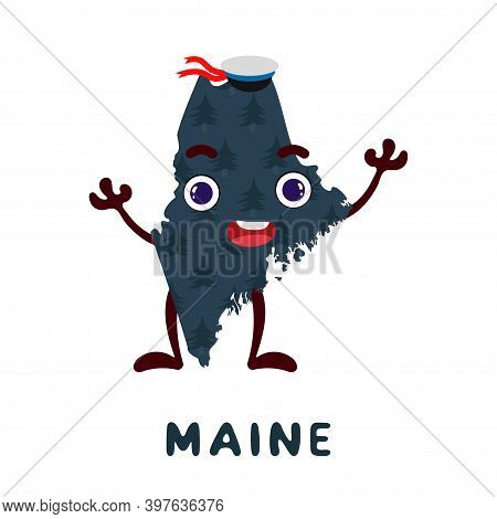 Cute Cartoon Maine State Character Clipart. Illustrated Map Of State Of Maine Of Usa With State Name