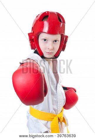 Young Pretty Boy Exercising Taekwondo