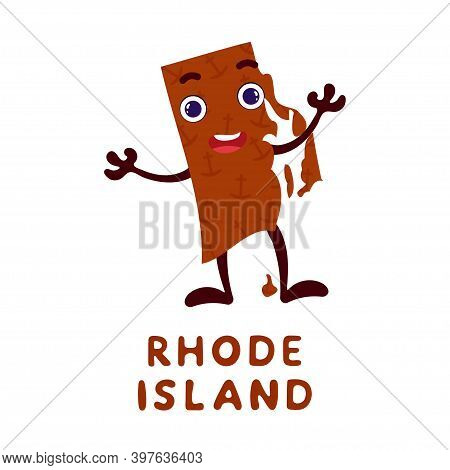 Cute Cartoon Rhode Island State Character Clipart. Illustrated Map Of State Of Rhode Island Of Usa W