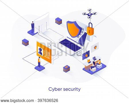 Cyber Security Isometric Web Banner. Network And Data Protection Isometry Concept. Firewall Software