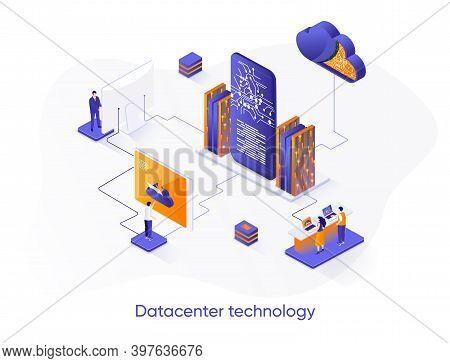 Datacenter Technology Isometric Web Banner. Internet Hosting Platform Isometry Concept. Data Center