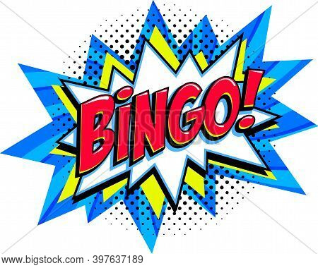 Bingo - Lottery Blue Vector Banner. Lottery Game Background In Comic Pop-art Style