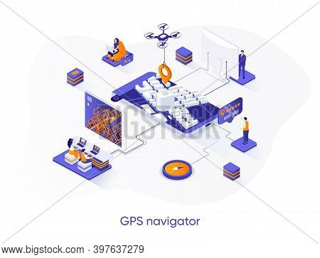 Gps Navigator Isometric Web Banner. Geolocation And Navigation System Isometry Concept. Route Planni
