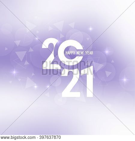 Abstract Blurred Vector Background With Sparkle Stars And Glint. Happy New Year 2021.