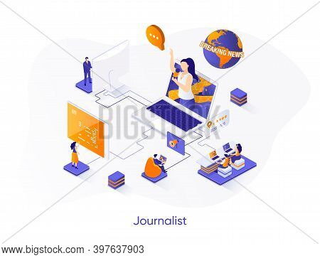Journalist Isometric Web Banner. Breaking News Reportage With Correspondent Isometry Concept. Tv Bro