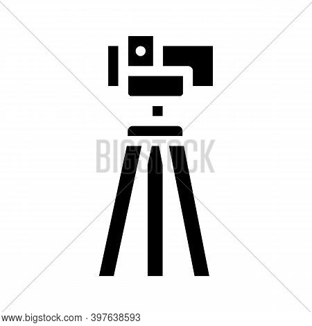 Theodolite, Vertical Projection Device Glyph Icon Vector Illustration