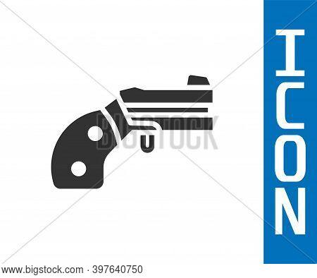 Grey Small Gun Revolver Icon Isolated On White Background. Pocket Pistol For Self-defense. Ladies Re