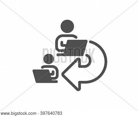 Delegate Work Icon. Teamwork Share Sign. Remote Office Symbol. Quality Design Element. Flat Style De