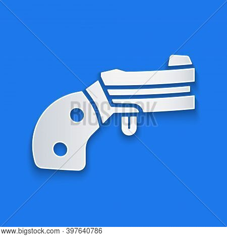 Paper Cut Small Gun Revolver Icon Isolated On Blue Background. Pocket Pistol For Self-defense. Ladie