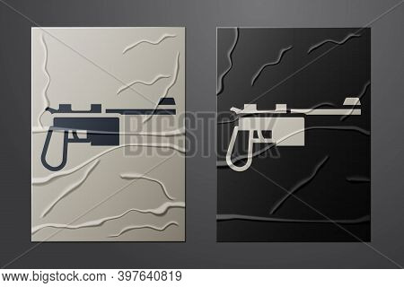 White Mauser Gun Icon Isolated On Crumpled Paper Background. Mauser C96 Is A Semi-automatic Pistol.