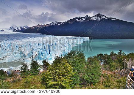El Calafate, Patagonia, Argentina - 14 Dec 2019: Perito Moreno Glacier Close El Calafate, Patagonia,