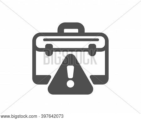 Warning Briefcase Icon. Attention Triangle Sign. Caution Diplomat Symbol. Quality Design Element. Fl