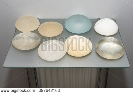 Silicone Implants For Breast Augmentation. Cosmetic Plastic Surgery. Various Types And Different Siz