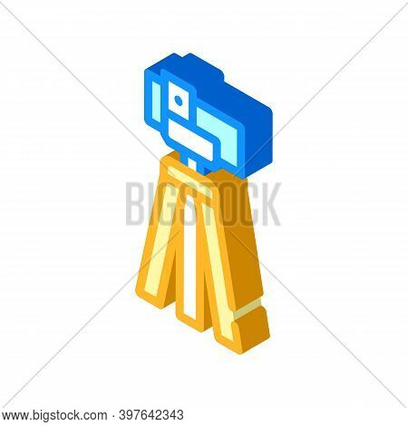 Theodolite, Vertical Projection Device Isometric Icon Vector Illustration