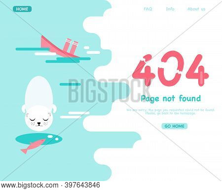 404 System Error.page Not Found. Website Template With Fatal Error. Support Service. Ice Hole, Seal