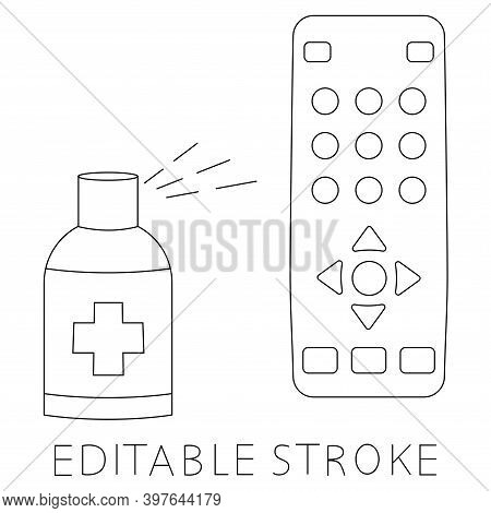 Sanitizing Of Tv Remote. Remote Disinfection. Disinfection Of Tv Clicker Using Antibacterial Spray.