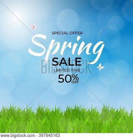 Natural Light Spring Sale Background. Vector Illustration Eps10