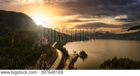 Sea To Sky Hwy In Howe Sound Near Squamish, British Columbia, Canada. Aerial Panoramic View. Beautif