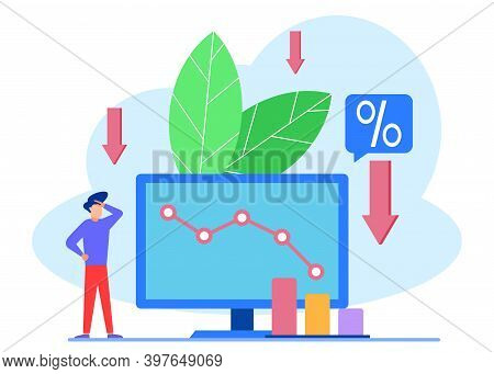 Vector Illustration Of Business Concept, Economic Downturn, Profit And Loss, Financial And Business