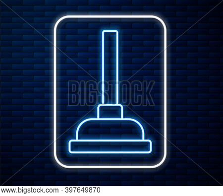 Glowing Neon Line Rubber Plunger With Wooden Handle For Pipe Cleaning Icon Isolated On Brick Wall Ba