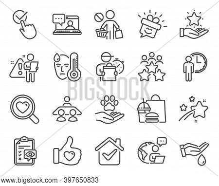 People Icons Set. Included Icon As Business Meeting, Friends Chat, Wash Hands Signs. Eye Checklist,