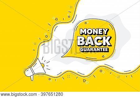 Money Back Guarantee. Loudspeaker Alert Message. Promo Offer Sign. Advertising Promotion Symbol. Yel