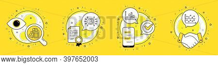 Bill Accounting, Diagram Graph And Bitcoin System Line Icons Set. Licence, Cell Phone And Deal Vecto