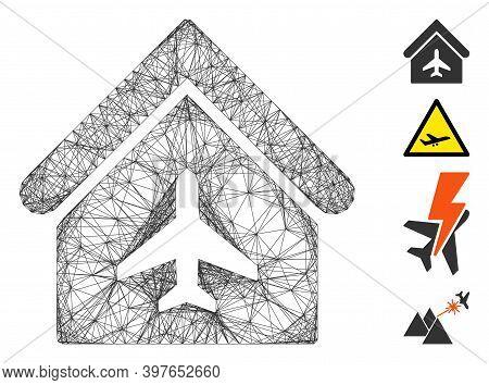 Vector Wire Frame Aircraft Hangar. Geometric Wire Frame 2d Network Made From Aircraft Hangar Icon, D