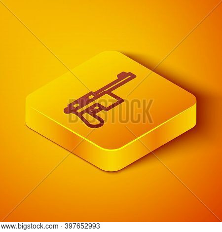 Isometric Line Mauser Gun Icon Isolated On Orange Background. Mauser C96 Is A Semi-automatic Pistol.