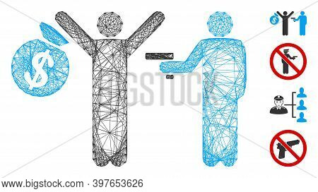 Vector Wire Frame Armed Robbery. Geometric Hatched Frame 2d Net Made From Armed Robbery Icon, Design