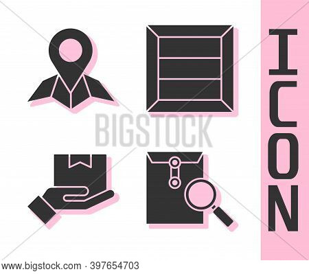 Set Envelope With Magnifying Glass, Placeholder On Map Paper, Delivery Hand With Boxes And Wooden Bo