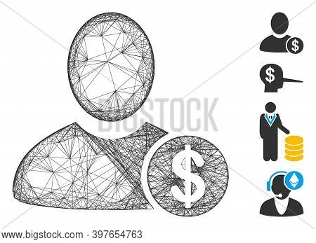 Vector Wire Frame Banker. Geometric Wire Frame Flat Net Generated With Banker Icon, Designed With Cr