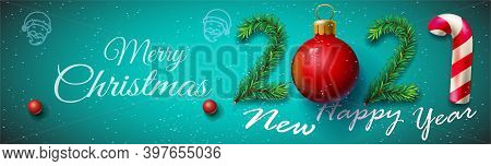 Merry Christmas And Happy New Year 2021 Posters Horizontal , Vector Illustration - New Year 2021 Ban