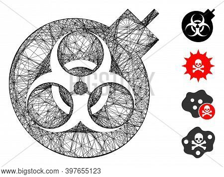Vector Net Biological Weapons. Geometric Wire Frame 2d Net Made From Biological Weapons Icon, Design
