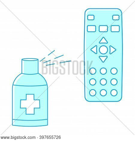 Sanitizing Of Tv Remote. Remote Disinfection. Disinfection Of Tv Clicker Using Medical Sanitizer. Sa