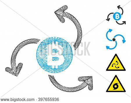 Vector Wire Frame Bitcoin Source Swirl. Geometric Wire Frame Flat Net Generated With Bitcoin Source
